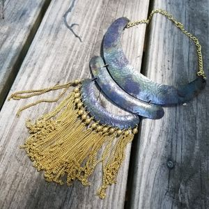 Chain fringe collar build necklace solid brass